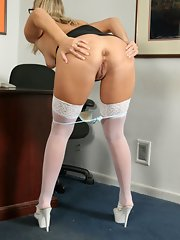 Horny Blonde Secretary White Stockings